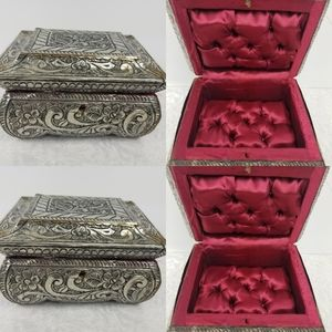 Silver tone engraved red satin lining jewelry box